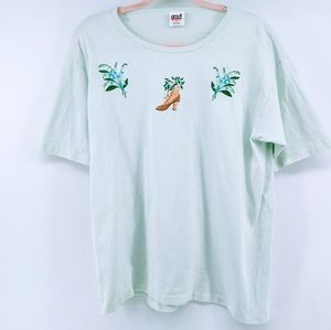 Anvil Embroidered Shoe & Flowers Cotton T-Shirt
